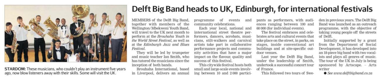 Delft Big Band Cape Times 2014_06_23